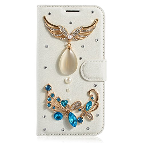 Huawei G7 Case, Ascend G7 Cases,Gift_Source [Card Slot] [Kickstand Feature] 3D Bling Crystal Handmade Diamond Leather Wallet Magnet Flip Folio Case for Huawei Ascend G7 5.5 inch [Angel]