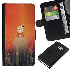 All Phone Most Case / Oferta Especial Cáscara Funda de cuero Monedero Cubierta de proteccion Caso / Wallet Case for Samsung Galaxy S6 EDGE // Watercolor Painting Girl Redhead