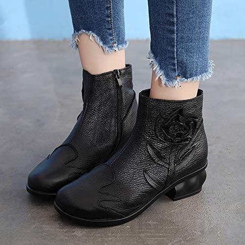 Boots Donna Lanskrlsp Da Neve Pelle Alto Modello Con Pianta Nero r1nv8xq6U1