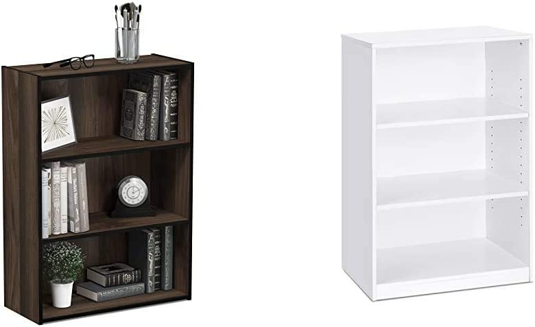 Furinno Pasir 3-Tier Open Shelf Bookcase, Columbia Walnut & Jaya Simple Home 3-Tier Adjustable Shelf Bookcase, White