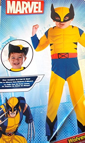 Toddler Wolverine Muscle Costumes (X-men Wolverine Boys Muscle Costume Jumpsuit Mask 3-4T NWT)