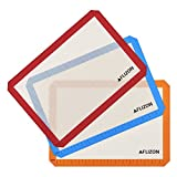 Silicone Baking Mat-3 Piece Baking Liners Non Stick Large Half Sheet Cooking Mat with Measurements for Cookie Sheet/Tray/ Baking Pan/Pastry Rolling/Macaroon Making 16.5''x11 5/8''
