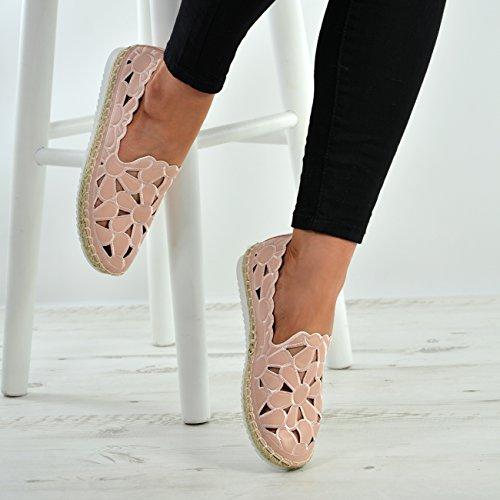 Cucu Fashion New Womens Ladies Floral Cut Slip On Flats Ballerina Espadrille Shoes Sizes UK Pink hAg36s