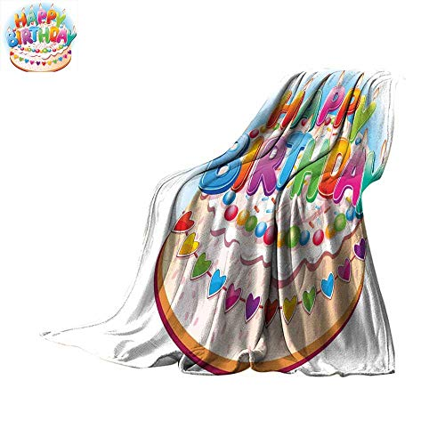 (homehot Birthday Decorations for Kids Bed Cover Cartoon Happy Birthday Party Image Cake Candles Hearts Print Lightweight All-Season Blanket Multicolor Throw Blanket 50