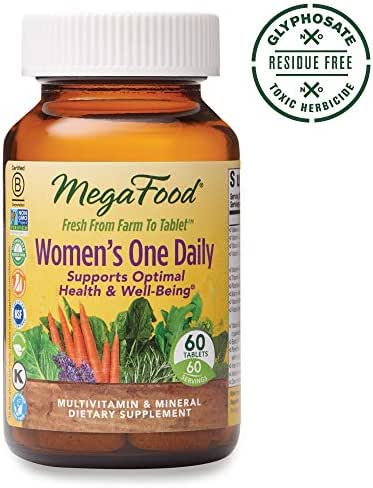 MegaFood, Women's One Daily, Daily Multivitamin and Mineral Dietary Supplement with Vitamins C, D, Folate and Iron, Non-GMO, Vegetarian, 60 tablets (60 servings)