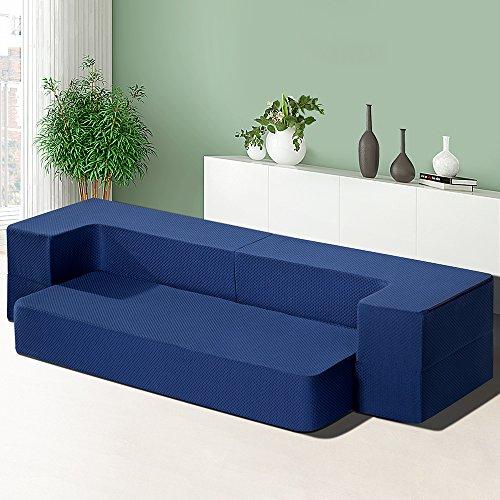 Sleeplace SVC08TM02T Tri-Folding Memory Foam Mattress, Twin, Blue