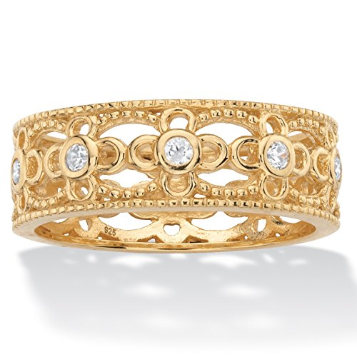 18K Yellow Gold over Sterling Silver Round Cubic Zirconia Bezel Set Filigree Eternity Ring
