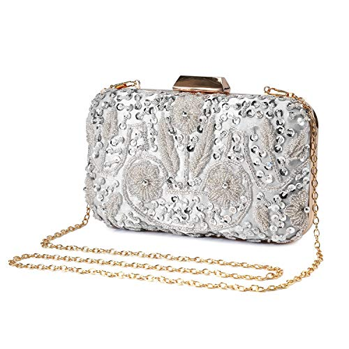 Clocolor Evening Bags and Clutches for Women Sequins Clutch Beaded Purse Wedding Party Handbag(Silver)