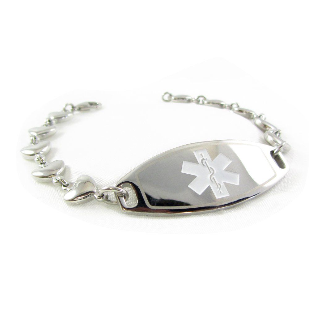 My Identity Doctor Custom Engraved Womens Medical Bracelet, Steel 6mm Heart Chain, Medium - White