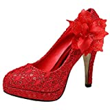 Getmorebeauty Women's Red Vintage Lace Flowers Party Dress High heel 6 B(M) US