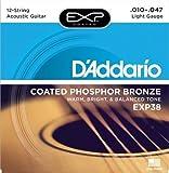 D'Addario EXP38 Coated Phosphor Bronze Acoustic Guitar Strings, 12-String, Light, 10-47 (2 Pack)