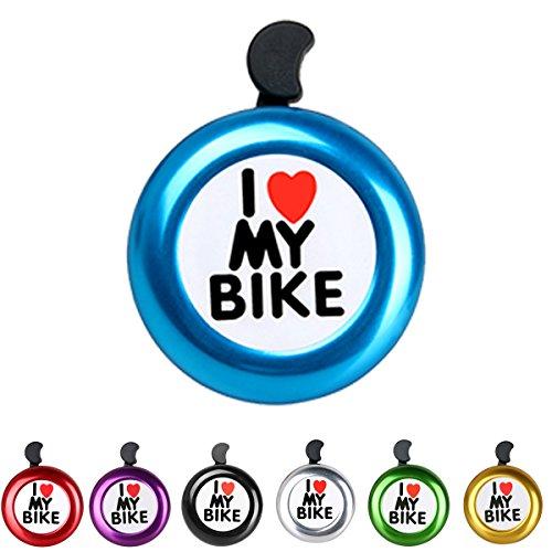 AD Blue I Like My Bike Bell - Bicycle Bell - Loud Aluminum Bike Horn Ring Mini Bike Accessories for Men Women Kids Girls Boys Bikes