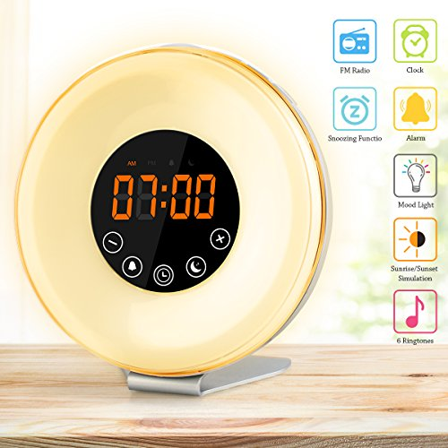 Alarm Clock Best Wake Up Alarm Clocks for Bedrooms with 7 colors Changing Sunrise Alarm Clock for Kids and Adults Touch Control Snooze Function Clock Radio (White)