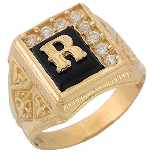 14k Yellow Gold Black Onyx White CZ Accented Mens Classic Letter R Initial Ring