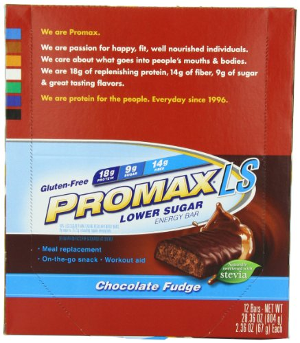 Promax LS Basse sucre Energy Bar, Chocolate Fudge, 12-Pack