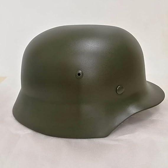 oarea WW2 alemán M35 acero casco Guerra Mundial 2 casco de seguridad con piel maletero, negro: Amazon.es: Deportes y aire libre