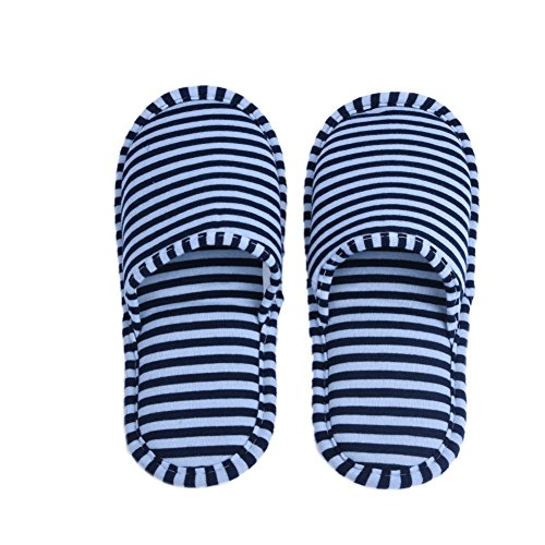 1 Pair Travel Foldable Slippers Anti-slip with Drawstring Storage Bag for Home Hotel Flight Indoor Outdoor Blue Stripes for Men Lb3tWxJo1