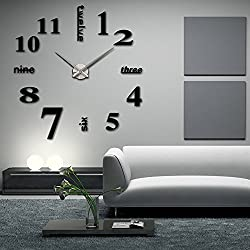 Elikeable Modern 3D Frameless Large 3D DIY Wall Clock Watches Hours DIY Decorations Home for Living Room Bedroom (black)