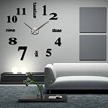 Amazoncom CoZroom Large Silver 3D Frameless Wall Clock Stickers