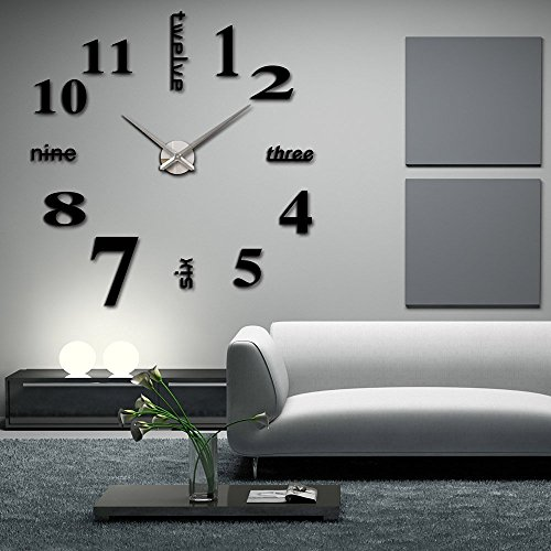 Elikeable Modern 3D Frameless Large 3D DIY Wall Clock Watches Hours DIY Decorations Home for Living Room Bedroom (black) (Word Clock Watch)