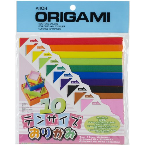 Aitoh Origami Paper, Ten Assorted Size, 100-Pack - Origami Paper Sizes