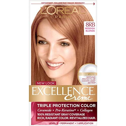 L'Oréal Paris Excellence Créme Permanent Hair Color, 8RB Medium Reddish Blonde, 1 kit 100% Gray Coverage Hair Dye (L Oreal Excellence Creme Light Reddish Blonde)