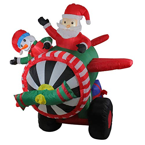 Northlight Nylon Inflatable Animated Santa and Snowman in Airplane Outdoor Decoration, 6.5'
