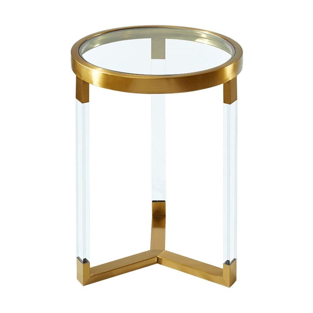 FEI - スタンディングデスク クリスタルサイドテーブル透明ガラスラウンドエンドテーブルリビングルームソファベッドルームポーチフラワーベッドベッドサイドテーブル スタンディングデスク (色 : ゴールド) B07P7DGDJN ゴールド