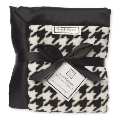 Fleece Satin Baby Blanket (SwaddleDesigns Stroller Blanket, Cozy Micro Fleece Black Puppytooth with Satin Trim)