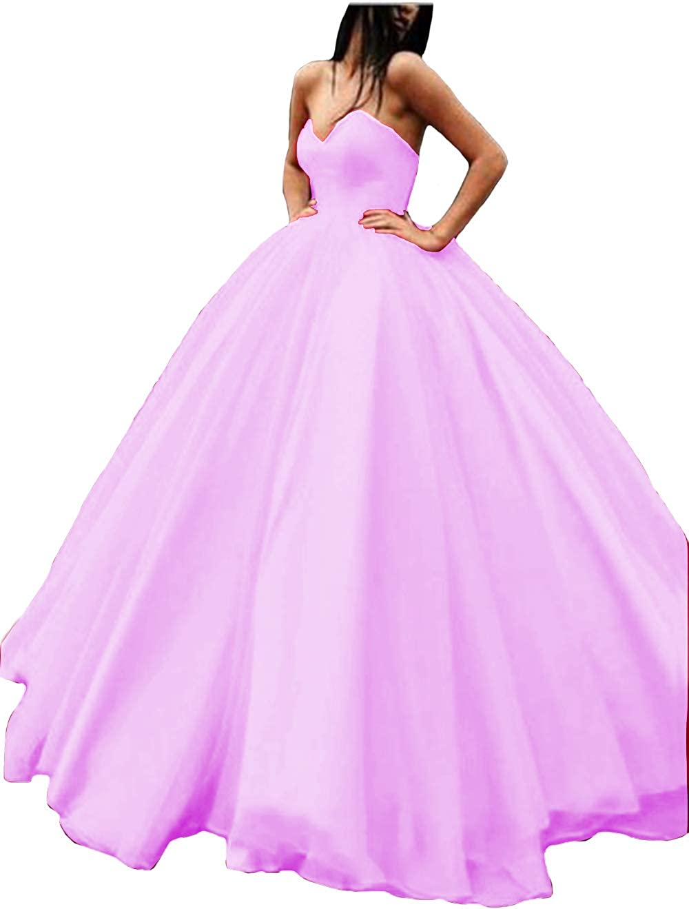 purplec IVYPRECIOUS Sweetheart A Line Puffy Prom Dresses Satin with Tulle Long Evening Ball Gown
