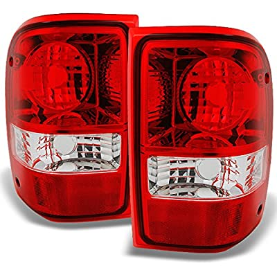 For Ford Ranger Pickup Truck Red Clear Rear Tail Lights Brake Lamps Turn Signal Replacement Left+Right: Automotive
