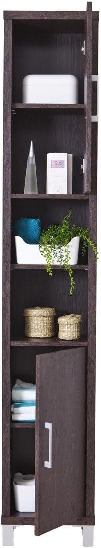 Topkit | Estantería Baño Gala 8901 | Medidas 192,5 x 33 x 23 cm | Estantería Estrecha de Baño con Puertas y Baldas | Mueble de Baño | Armario Baño | Wengue