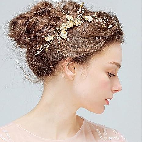 Kercisbeauty - Peineta para novia, dama de honor, flor de oro, flores,