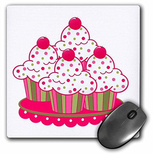(3dRose LLC 8 x 8 x 0.25 Inches Peppermint Cupcakes Mouse Pad (mp_151878_1))