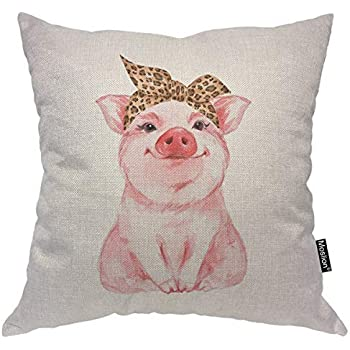 Moslion Pig Pillows Decorative Pillow Case Farm Animal Funny Cute Piggy Wearing Leopard Bandanna Throw Pillow Cover Square Cushion Accent Cotton Linen Home 18x18 Inch Pink