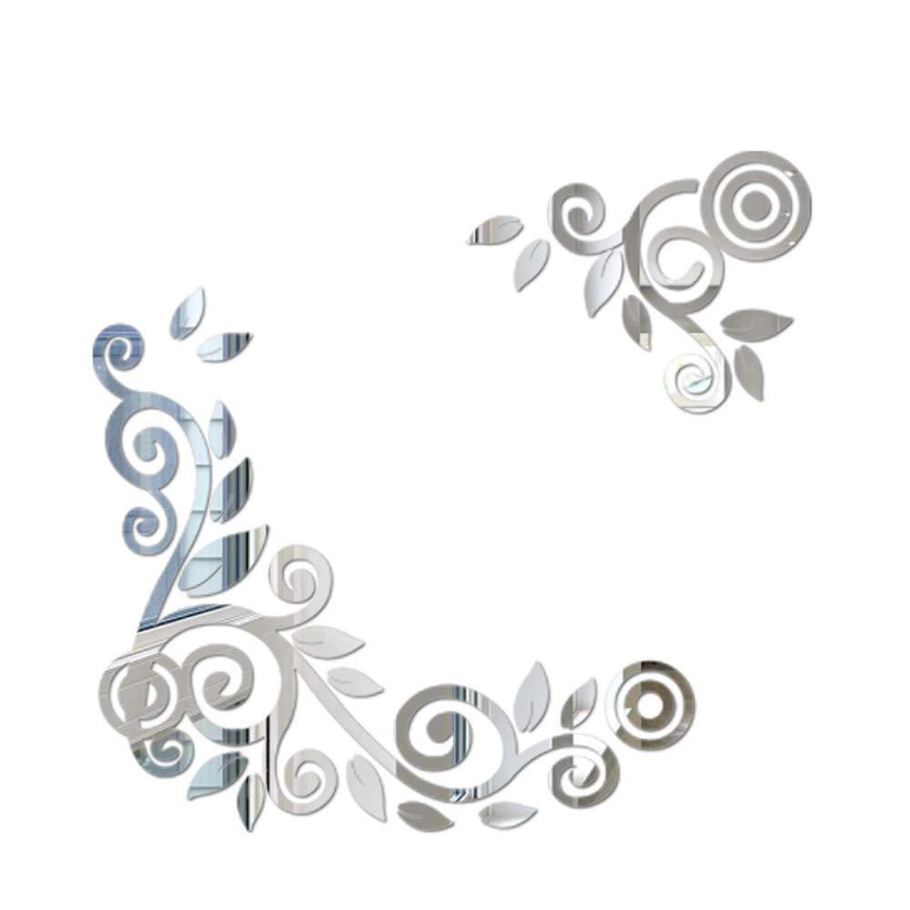 Hot!Ninasill Flower Pattern Mirror Acrylic Wall Sticker Warm Fashion Modern wallpape Simple Wall Decoration