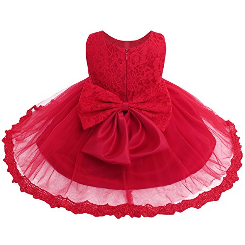 TiaoBug Baby Girls Flower Wedding Pageant Princess Bowknot Communion Party Dress Red(Lace) 12-18 Months -