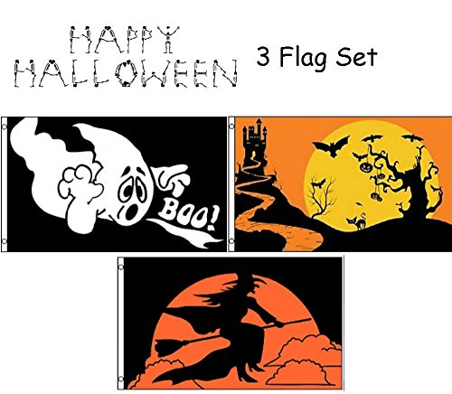 ALBATROS 3 ft x 5 ft Happy Halloween 3 Flag Set #5 House Banner Grommets for Home and Parades, Official Party, All Weather Indoors Outdoors -