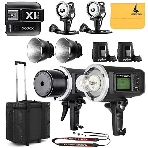 GODOX AD600BM Sync 1 / 8000s 2.4G 2Pcs Wireless Flash Speedlite,GODOX X1T-S,2X AD-H600B Head,2X PB-600 Bag,1X Carry Bag,2X 32'' 5-in-1 Reflector,1X LETWING Camera Neck Strap by Godox