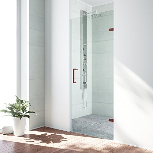VIGO SoHo 24 to 24.5-in. Adjustable Frameless Shower Door with .3125-in. Clear Glass and Oil Rubbed Bronze Hardware (Oil Soho)