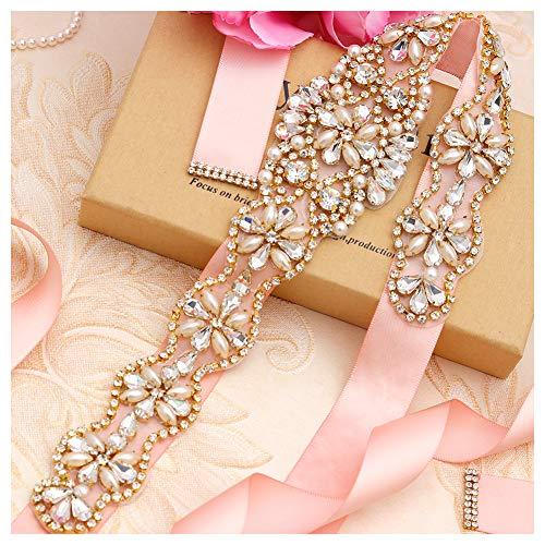 Yanstar Handmade Gold Beads Bridal Belts Blush Sashes Wedding Belt With Rhinestones For Wedding Bridesmaid Dress (Gold-Blush)