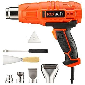 Heat Gun, Portable 1500W Dual Temperature Hot Air Gun 525℉-932℉ by RexBeTi, 7 Accessories for Heat shrink tubing, Wrapping Drying Painting, Non-Slip Soft Handle, Black Orange