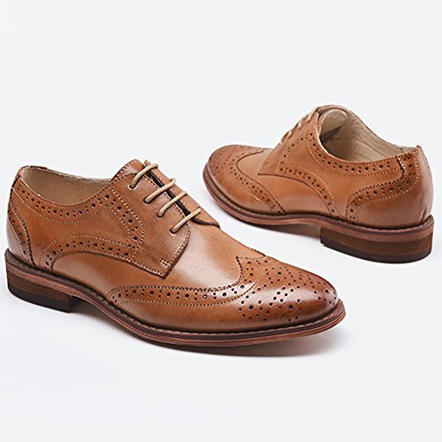 Low Wingtip Oxfords Oxfords Lace Brown Heel Carving Shoes Dress Perforated up Leather Women's Odema Brogue xnqwpa0SW