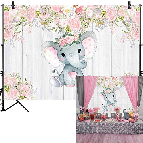 Cute Baby Shower Themes (Allenjoy 7x5ft Rustic Floral Elephant Backdrop for Baby Shower Party Pink Flower Wood It's a Girl Banner Birthday Photography Background Cake Table Decoration Photo Booth Studio Props Favors)