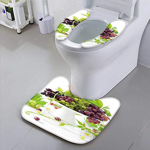 Cake Grape Stand (Jiahonghome Non-Slip Bath Toilet Mat Type Grapes with Leaves on a Cake Stand Suit for The Toilet)