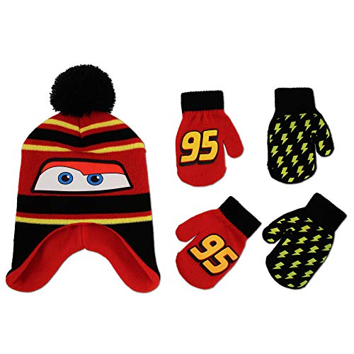 Disney Cars Hat and 2 Pair Mittens or Gloves Cold Weather Set, Little Boys, Age 2-7 (Black, Red, Yellow Design - Age 4-7 - Gloves Set)
