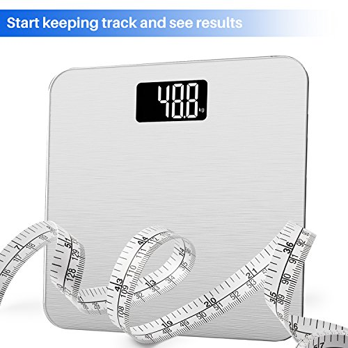 Smart Weigh Digital Weight Glass,Backlit Display,Precision Technology, Pounds,Silver