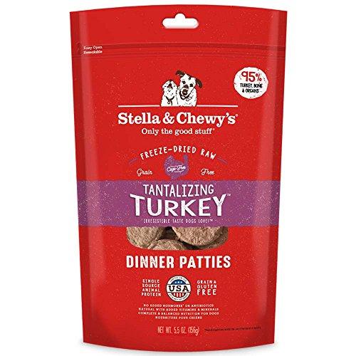 Stella & Chewy's Freeze-Dried Raw Tantalizing Turkey Dinner Patties Grain-Free Dog Food, 5.5 oz bag