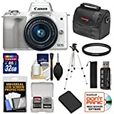 Canon EOS M50 Wi-Fi Digital ILC Camera & EF-M 15-45mm is STM Lens (White) with 32GB Card + Battery + Tripod + Case + Filter + Kit