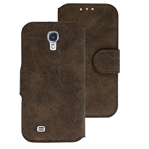 Handy Schutz Tasche Geldbeutel Hülle Flip Case Etui Samsung Galaxy S4/Neo Braun